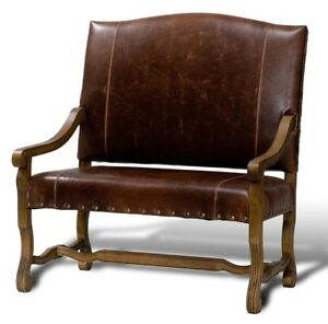 """44.5"""" W Settee Brown Italian Leather Hand Carved Solid Oak Frame Brass Nails"""