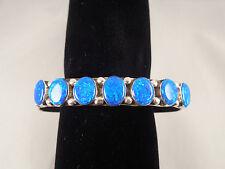 Beautiful Navajo Handmade Blue Opal Bracelet Set In Sterling Silver