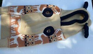 Pet Luv Christmas Holiday Tan Black Sweater W/ Reindeer Print Med NWT Free Ship