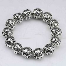 Collectable Tibet Silver Hand Carved Hollow small ball Bracelet  a6026