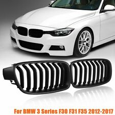 For BMW 3 Series F30 F31 F35 2012-17 Pair Matte Black Front Kidney Grill Grille