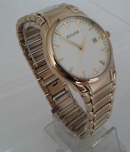 Gents Gold Tone Accurist Watch On Bracelet. 30m w/resist. MB864W.