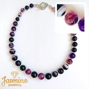 Purple Striped round Agate Natural Stone Necklace, Tibetan Toggle Clasp.