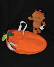 Peluche doudou poupée poupon LILLIPUTIENS brun grelot 21 cm + lit cozy TTBE