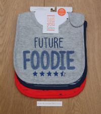 Carter's Just One You 3 Pack Boys Teething Bibs~ Future Foodie ~ Water Resistant