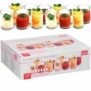 12 Pieces Appetizer Glass Set Mini Dish Shot Cups Verrines Dessert Party Glasses
