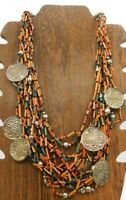 "Vintage Multi Color Layer Wood Tube Beads Metal Floral Flower Coin 22"" Necklace"