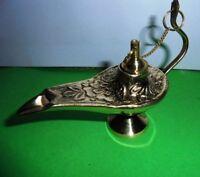 Vintage Decorative Brass Oil Lamp Aladin Chirag Brass Incense Burner Handicraft