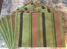 Crate & Barrel Placemats set 6 Mojave Stripe Multi Color Cloth NWOT