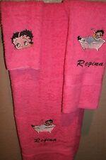 Betty Boop Bath Tub Personalized 3 Piece Bath Towel Set  Your Color Choice