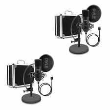 Pyle Pdmikt100 Pro Audio Recording Computer Microphone Kit with Case (2 Pack)