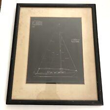 Vtg Sailboat Nautical Architectural Drawing Framed History JD Callahan 1930 Race