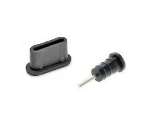 USB-C Connector & Aux Black Silicone Anti-Dust Plug for Samsung Galaxy S9 / S9+