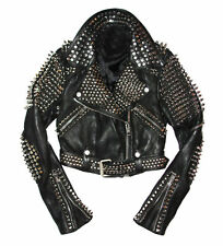 New Mens Full Black Punk Brando Silver Spiked Studded Cowhide Leather Jacket