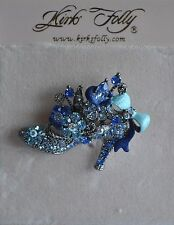 Crystals And Flowers In Silver Tone Kirks Folly Shoe Pin In Blue