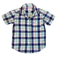 Carter's Baby Boy Toddler 2T Button Up Plaid Green Blue Pink Short Sleeve Shirt