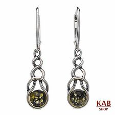 GREEN BALTIC AMBER STERLING SILVER 925 DANGLE EARRINGS, KAB-87