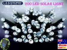2x 200 LED 20.9M WHITE SOLAR CHRISTMAS WEDDING PARTY FAIRY STRING LIGHTS(2 sets)