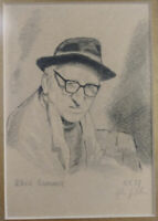 John Nolan Print of Patrick Kavanagh Drawing, 1991 Framed