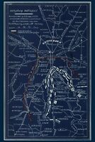 Gettysburg Battlefield Map 1863; Drawn in 1863 ; Shows Blue & Gray Positions