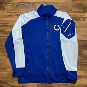 Nike Indianapolis Colts Dri-Fit Blue/White Full Zip Sideline Track Jacket Size L