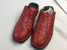 Rieker Women Mules Shoes Sz 41 Woven Red Leather Euro Comfort Antistress