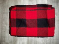 Vintage Marlboro Country Store Red Buffalo Plaid Wool Blanket USA Advertising