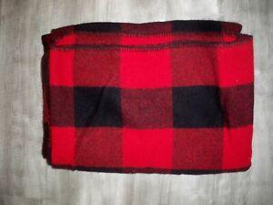 Vintage Marlboro Country Store Red Buffalo Plaid Wool Blanket USA Advertising