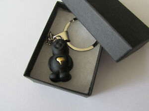 Handmade Miniature Black Jelly Baby Sweet with a Heart of Gold Charm Keyring