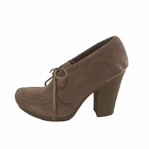 NINE WEST Vintage American Collection Size 7.5M Beige Suede Leather Loafer Heels