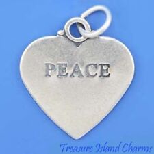 PEACE Two-Sided Heart .925 Solid Sterling Silver Charm Pendant MADE IN USA