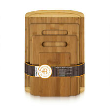 Bambusi Bamboo Chopping / Cutting Boards Set of 4 w/ Drip Groove by Belmint
