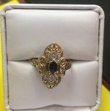 10k Gold Deco Style Sapphire Ring With Diamond Accents Sz 6