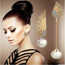 1 Pair Women Elegant Angel Wings Rhinestone Pearl Ear Stud Gold Dangle Earrings