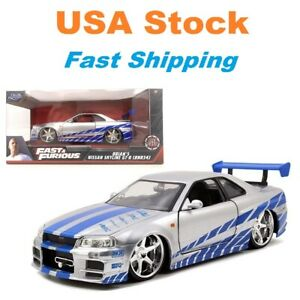 "Fast And Furious 2002 Brian's Nissan Skyline GTR R34, Diecast Toy Car, 8"", 1:24"