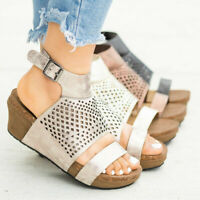 Womens Ladies Wedges Platforms Casual Open Toe Summer Beach Sandals Shoes Size
