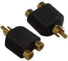 2 raccords dédoubleur coupleur multiprise RCA phono vidéo en Y 1 mâle-2 femelles