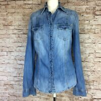 Fitted Denim Womens Shirt Guess Los Angeles UK12 US L Vintage Wash Snap Popper
