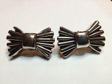Boucles D'oreilles Anciennes George RECH Paris, Metal Argenté, Noeuds Papillons