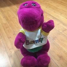 "Lyon's Barney Dinosaur Closed Mouth Plush Stuffed Doll 14"" Vintage 1992 w tshirt"