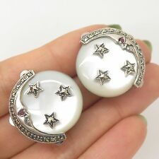 Vtg Sterling Silver Real Mother-Of-Pearl Marcasite Ruby Gemstone Moon Earrings