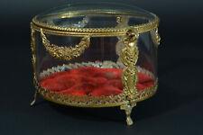 Grande Boite Ancienne Louis XVI Ronde Verre Coffre Bijoux Couronne Marié 19e Box