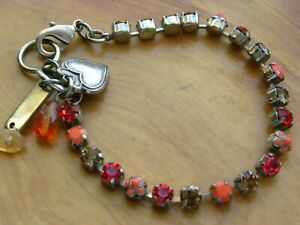 """MARIANA RED AND GOLDEN SWAROVSKY CRYSTAL CHARMBRACELET 7"""" TO 7-1/2"""""""