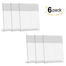 "6Pcs 8""x10"" Acrylic Display Holder L-shaped Menu Card Ad Photo Frame Stand"