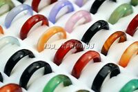 Wholesale Lots Mixed Colors 100pcs Glossy Natural Agate Gemstone Rings FREE New