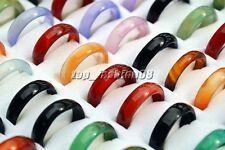 Wholesale Lots Mixed Colors 100pcs Glossy Natural Agate Gemstone Rings FREE New