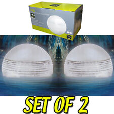Water Pond Floating Lights Set 2 Aquatic Globe Waterproof White Clear Solar Ball