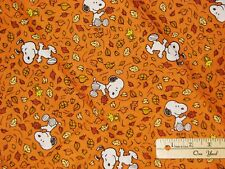 "Snoopy Peanuts Woodstock Fall Walk Autumn Fabric  by the Fat Quarter 18"" x 22"""