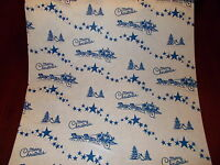VTG 1940 WW2 ERA CHRISTMAS WRAPPING PAPER STAGE GIFT WRAP - 2 YARDS BLUE CUTE