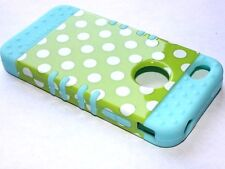 iPHONE 4 4G 4S - HARD & SOFT RUBBER HYBRID IMPACT CASE TURQUOISE GREEN POLKA DOT